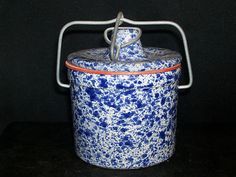 Vintage Blue & White Glazed Stoneware Crock With Wire Lock Lid & Rubber Gasket Stoneware Crocks, Glaze, Blue And White, Wire, Vintage, Home Decor, Products, Enamel, Decoration Home