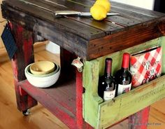 Amazing Rustic Kitchen Island DIY Ideas 22 - Love how all the different pieces and colors come together to give this island a unique personality of its own.