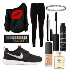 Untitled #1 by kartseva-ana on Polyvore featuring polyvore, fashion, style, 7 For All Mankind, NIKE, NARS Cosmetics, Forever 21, Marc Jacobs and Chanel