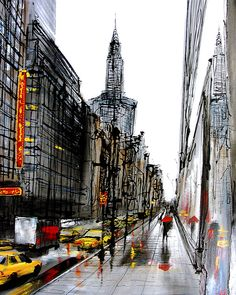 paul kenton Skyline Painting, Cityscape Art, Landscape Concept, Urban Landscape, Paul Kenton, City Sketch, Nyc Art, A Level Art, Urban Sketchers