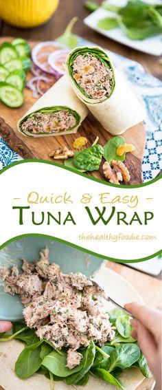My go-to Tuna Wrap - Essen - Wraps Recipes Wrap Recipes, Lunch Recipes, Cooking Recipes, Tuna Lunch Ideas, Tuna Sandwich Recipes, Vegaterian Recipes, Bulgur Recipes, Hotdish Recipes, Dinner Recipes
