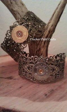 Shotgun shell casing cuff bracelet. $20.00, via Etsy.