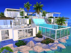 Cute Minecraft Houses, Minecraft Houses Blueprints, House Blueprints, Sims 4 House Plans, Sims 4 House Building, The Sims 4 Lots, Sims 4 House Design, Island Villa, Casas The Sims 4