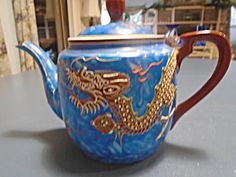 Nichimen Raised Dragon 10 Pc. Tea Set Occupied Japan Antique