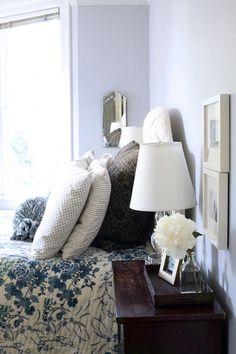blue + white. nightstand decor.