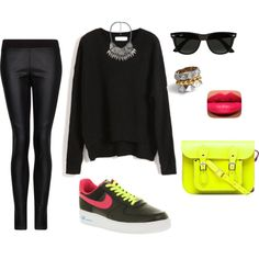 Black, Neon, Leather pants, Nike Air Force Ones Outfit