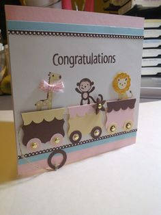 Zoo Babies baby card -- so adorable with the baby animals on the train! Baby Congratulations Card, New Baby Cards, Baby Shower Cards, Baby Kind, Greeting Cards Handmade, Baby Boy Cards Handmade, Kids Cards, Cute Cards, Creative Cards