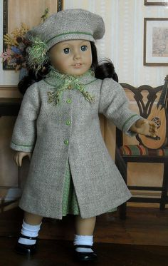 Tan coat & Beret for AG dolls by Sugarloaf Doll Clothes