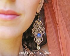 Magical macrame earrings with labradorite stone and brass beads via Etsy