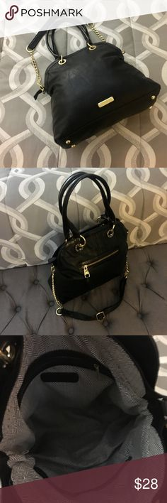 """Large Steve Madden Handbag Black Vegan Leather with Gold Hardware.  One exterior and one interior zip pocket as well as two slip pockets for storage.  12"""" H x 14.5"""" L x 5"""" D.  Strap drop is 8"""".  Adjustable longer strap can be removed.  Excellent condition. Bags"""