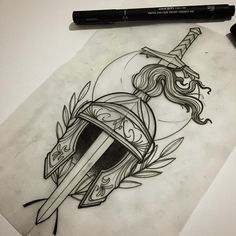 Kawaii Drawings, Cool Drawings, Tattoo Sketches, Art Sketches, Medieval, Blackwork, Avatar Tattoo, Sword Drawing, Flash Art