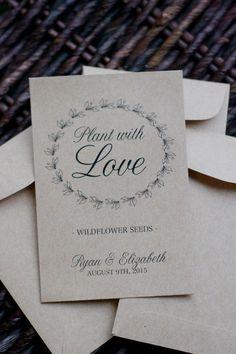 100 Kraft Paper Flower Seed Favor Envelopes by AdorePaperDesign