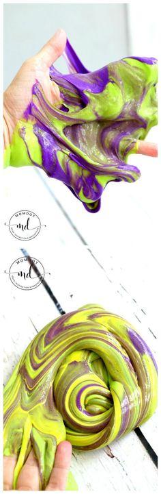 Mardi Gras Slime Recipe (With no borax) - gorgeous striped holiday slime