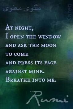 At night, I open the window and ask the moon to come and press its face against mine.  Breathe into me.  Rumi