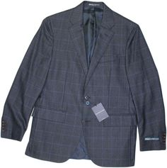 POLO RALPH LAUREN DARK BLUE WITH BLUE CHECK MEN'S SUIT-40R-MADE IN ITALY #POLORALPHLAUREN #TwoButton