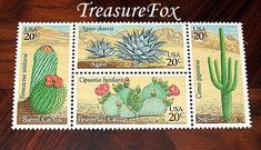 This selection is titled: CACTUS PLANTS. A block of 4 different varieties of Desert cactus plants. This listing for Cactus Plants Set of 50 has a total of 50 stamps in 12 blocks of 4 and an additional 2 cactus plant stamps, not 50 blocks of the four stamps.  Use if you find you need to pay for some additional postage on your letter or invitation. Or add them to modern postage to give your letter the look you can only get with Vintage postage stamps. All of the stamps in my listings are valid…