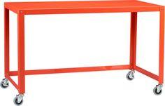 go-cart bright orange desk in all gifts   CB2
