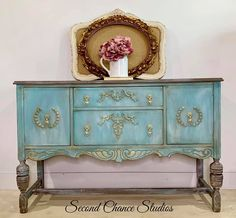 We took this antique Jacobean buffet from drab to fab with a wave of our magic wand (ok paint brush) and turned her into a posh and pretty princess! Tap on the pic to take Cinderella home today with free nationwide shipping! Chalk Paint Furniture, Hand Painted Furniture, Furniture Projects, Furniture Makeover, Diy Furniture, Refurbishing Furniture, Gothic Furniture, White Furniture, Vintage Furniture