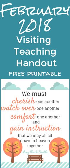 2018 visiting teaching printable / visiting teaching handout / visiting teaching ideas / lds ideas / mormon / relief society via @clarkscondensed
