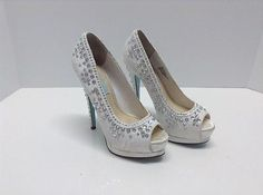 Blue By Betsey Johnson Vow Rhinestone Peep Toe Pumps Shoes Lace Ivory Size 6M - EXCLUSIVE DEAL! BUY NOW ONLY $34.99