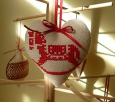 Rocking horse cross stitch christmas tree decoration