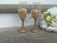 rustic wedding glasses, Mr and Mrs toasting flutes, burlap wedding bride and groom glasses on Etsy, $29.95