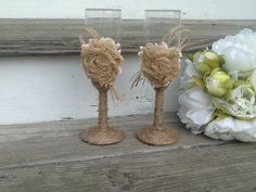 rustic wedding glasses Mr and Mrs toasting flutes by PineNsign, $29.95