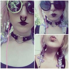 Pastel goth OOTD Glasses : tally weil Septum : crazy factory Choker : ebay  Hair clips : ebay Lipstick ; clears