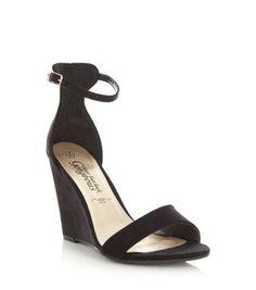 Black Suedette Ankle Strap Wedges