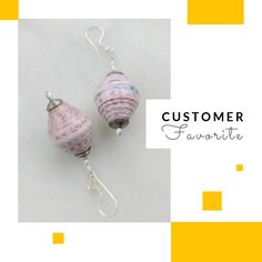 Pink paper bead drop earrings with sterling silver ear wire. Paper Jewelry, Paper Beads, Resin Jewelry, Jewellery, Fish Hook Earrings, Beaded Earrings, Drop Earrings, Perfect Gift For Girlfriend, Pink Paper