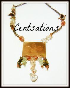 Fleur de lis copper pendant with stones and copper by Centsations, $60.00