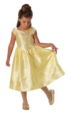 Kaunotar Classic. Tämä kauniin keltainen naamiaisasu on todellinen prinsessamekko vailla vertaa. Mekon helmaa kiertävät Kaunottaren tarinasta tutut symbolit ja rinnusta koristaa kaunis koru.