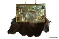 Aztec Statement Necklace of Brass and Feathers by LindaBrittDesign, $135.00