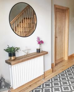 How lovely does this sleek white hallway radiator look combined with some stunni. - How lovely does this sleek white hallway radiator look combined with some stunning light woods and - Hallway Shelf, White Hallway, Modern Hallway, Console Table Styling, Rustic Console Tables, Small Hallway Decorating, Radiator Shelf, Diy Wohnmöbel, Flur Design