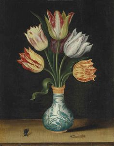 Circle of Ambrosius Bosschaert I (Antwerp 1573-1621 The Hague) | Semper Augustus tulips in a Wan-Li vase, with a caterpillar and a bluebottle fly, on a ledge | 17th Century, 16th Century | Christie's