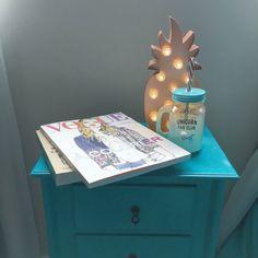 Luminous pineapple:Primark £10 Unicorn glass: Primark £5 Books: Foyles