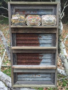 Rustic belt buckle display for purchase!