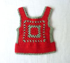 Vintage crochet vest, Red and gray wool granny square design. via Etsy Débardeurs Au Crochet, Crochet Baby, Crochet Bikini, Crochet Tops, Crochet Squares, Short Tops, Red And Grey, Vintage Crochet, Crochet Clothes