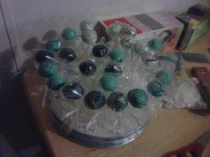 Blue cakepops for baby shower