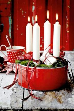 ▷ 1001 + Advent wreath DIY ideas - red accent beautiful white candles – modern advent wreaths Informations About ▷ 1001 + Adventskr - Winter Christmas, Christmas Time, Christmas Crafts, Christmas Decorations, Xmas, White Candles, Soy Candles, Ideas Candles, Diy Candles Video