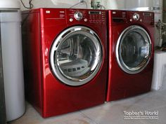 OUR LG washer and dryer in Wild Cherry Red!