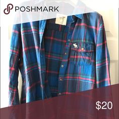 Abercrombie & Fitch Flannel blue and red flannel Abercrombie & Fitch Tops Button Down Shirts