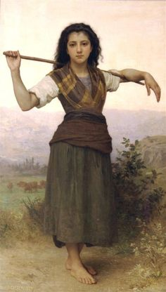 William Adolphe Bouguereau The Little Shepherdess print for sale. Shop for William Adolphe Bouguereau The Little Shepherdess painting and frame at discount price, ships in 24 hours. William Adolphe Bouguereau, Munier, Jugendstil Design, Isadora Duncan, Academic Art, Oil Painting Reproductions, Fine Art, Beautiful Paintings, Romantic Paintings
