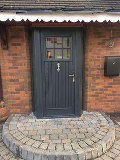 Super Anthracite Grey Front Door And Garage Ideas Cottage Front Doors, Victorian Front Doors, Cottage Door, House Front Door, House Doors, Cottage Chic, Front Porch, Grey Composite Front Door, Grey Front Doors