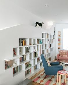 Cat Friendly Home Tours: Brooklyn row house with custom bookcase featuring cat catwalk Row House Design, Cat Friendly Home, Design Case, Cat Design, Formal Living Rooms, Modern Living, Home Improvement Projects, Home Renovation, Ideal Home