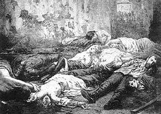 """Death scene- of Tsar Nicholas II and his family-basement of Ipatiev House in Yekateninburg. Shot by Hungarians as it was feared Russians may have refused. Anastasia, Marie, and Tatiana did not die after being shot. They had to be stabbed, beaten and finally given a shot to the head. Their undergarments had a tremendous amount of diamonds and precious jewels sewed into them preventing the initial bullets from penetrating. The Tsar's last words  """"What? What?"""" after hearing their sentence read."""