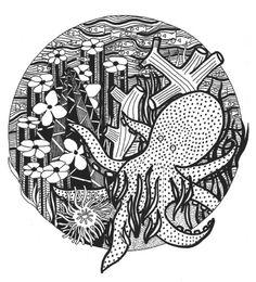 Octopus Garden by Adrienne Price  http://society6.com/asprice/Octopus-Garden-DaJ_Print