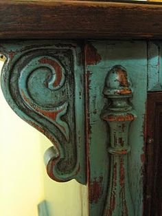 gorgeous dark patina wood and teal paint