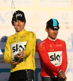 Geraint Thomas and Michal Kwiatkowski of Team Sky after the 2nd stage of the cycling Tour of Algarve between Sagres and Alto do Foia on February 15...