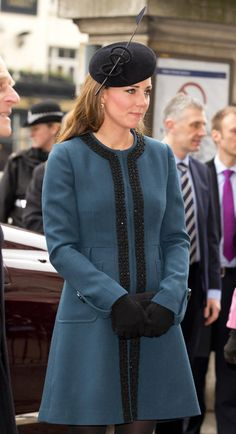 Marking the 150th anniversary of the London Underground, Middleton wore a teal coat topped with a fascinator from Whiteley Hat Company.